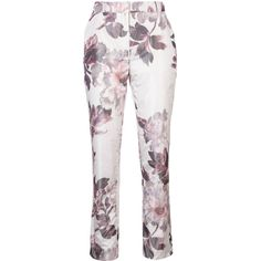Brock Collection floral print cigarette trousers ($1,570) ❤ liked on Polyvore featuring pants, white, white cigarette trousers, multi colored pants, floral trousers, floral printed pants and white floral pants