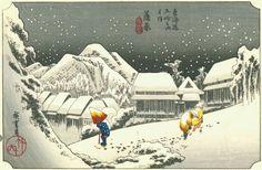 "hunters in the snow painting | Utagawa Hiroshige, ""Night Snow at Kambara,"" 1833 (Wikipedia)"