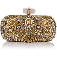 Marchesa Lily Medium Embroidered Crystal Clutch, Gold found on Polyvore