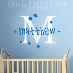 Our Monogram Boys Wall Sticker with Stars is a large monogram letter decal in one colour with your childs name in another colour. Comes with stars as well.