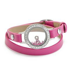 """Origami Owl All About Pink+Think Pink Support the fabulously fierce women in your life battling breast cancer by raising awareness for this disease with our sophisticated  sparkling Silver Wrap Bracelet Locket with Swarovski Crystals Includes iconic Breast Cancer Awareness Ribbon Charm Features  our 6-7 1/4"""" Pink Genuine Leather Wrap Wear your support around your wrist Pay tribute to current & past breast cancer survivors+those who will always be remembered…"""