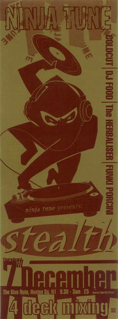 Ninja Tune show playbill - Coldcut / DJ Food / The Herbaliser / Funky Porcini