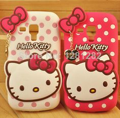 1pc New Cute Polka Dot Hello Kitty Soft Silicon Cases For Samsung Galaxy S3 mini GT-I8190 i8190 free shipping $6.99