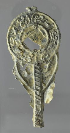 Roman votive lead mirror, 2nd-4th century A.D. Miniature lead mirror with decoration and handle. Private collection