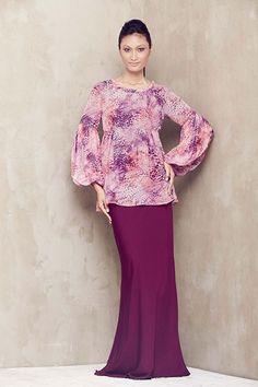 Twisted Neckline Baju Kurung - Pink