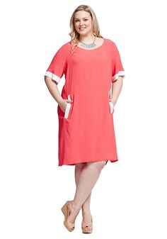 Contrast trim shift dress - Coral - Dresses - Dresses -- Love Your Wardrobe