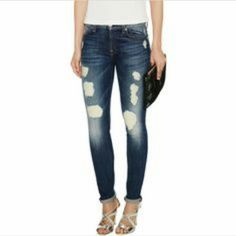 7 For All Mankind ripped The Skinny Will fit size 6, mostly cotton, so will not stretch to size 8. Holes are not through & through, seamlessly patched from within pant legs. Never worn. Bought on sale, so will accept best offer. 7 for all Mankind Jeans Skinny