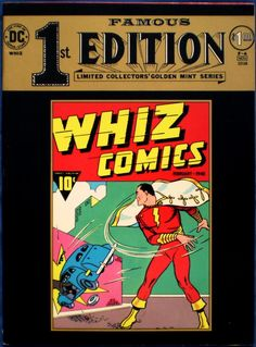 Chuck's Stuff has this DC Famous 1st/First Edition Golden Mint series F-4 treasury size comic for sale for $30. 1974, reprints Whiz Comics #2 from 1940, the first appearance of Shazam/Captain Marvel. Near Mint- 9.2, details on site. If re-pinning, you can edit the description if you want. #comicbooks