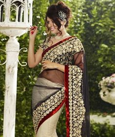 Embellish your ethnic style with the latest collection of some gorgeous and stunning sarees! Now you can transform your traditional look into something more gorgeous, chic and elegant. So embrace your self with a whole new traditional look and define simplicity in its true form! BRAND: BrijrajCATEGORY: Lehenga Saree with Unstitched BlouseARTICLECOLOURMATERIALLENGTHSareeBeige and BlackNet5.40 metersBlouseBeige and BlackPoly Dupion0.80 metersWe would always want to send you what we showcase…