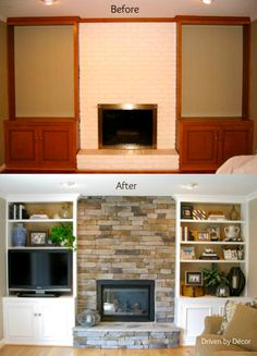 Give your old fireplace and built-in bookcases a make-over!