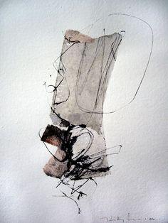 '119′  kitty sabatier : calligraphy - Techniques mixtes  21 x 30 cm  2010