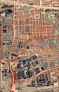 Poverty map of Old Nichol slum, East End of London, showing Bethnal Green Road, from Charles Booth's Labour and Life of the People. Volume 1: East London (London: Macmillan, 1889). The streets are colored to represent the economic class of the residents. #map #london #poverty