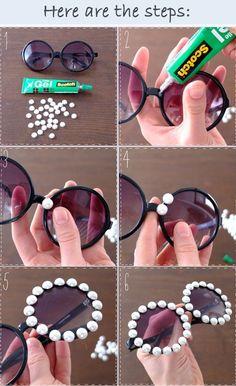 DIY Embellished Sunglasses With Pearls projekte aufbewahrung 15 Ways to Make Cool DIY Embellished Sunglasses - Pretty Designs Diy Tumblr, Cool Diy, Easy Diy, Karneval Diy, Diy Fashion Projects, Cute Sunglasses, Sunnies, Theme Halloween, Pretty Designs