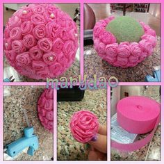 Flower ball DIY centerpiece decoration by Vanessa Vidrine - diy - Baby Shower Diy Flowers, Paper Flowers, Table Flowers, Flower Ideas, Bridal Shower Decorations, Wedding Decorations, Diy Sweet 16 Decorations, Diy Y Manualidades, Diy And Crafts