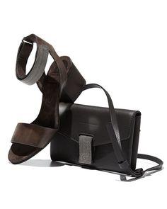Brunello Cucinelli Monili-Trim Leather City Sandal, Carbon