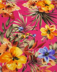 Cotton Lawn Fabric | Tropical Print Fuchsia | Truro Fabric Cotton Lawn Fabric, Holiday Wear, Vibrant, Tropical, Truro, Pattern, Painting, Inspiration, Trends