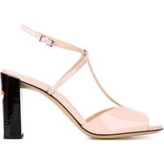 Fendi t-bar sandals (€400) ❤ liked on Polyvore featuring shoes, sandals, ankle strap sandals, t-bar sandals, block heel shoes, t strap shoes and t strap sandals