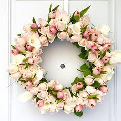 Create a Spring Rosebud Wreath via @Guidecentral