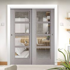 Thruslide Vancouver Light Grey 2 Sliding Doors and Frame Kit - Clear Glass - Prefinished - Lifestyle Image Grey Internal Doors, Grey Doors, The Wright House, Contemporary Doors, Safety Glass, House Extensions, Back Patio, Sliding Doors, French Doors