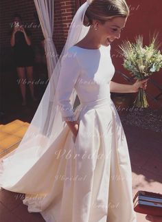 Romantic Wedding Dresses A-line Long Sleeves Long Evening Dresses Open Back Satin Wedding Gowns, Source by shomapour Wedding Dress Train, Wedding Dresses 2018, Elegant Wedding Dress, Bridal Dresses, Formal Wedding, Wedding Dress Pockets, Wedding Dress Princess, Modest Wedding, Gown Wedding