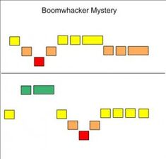 Boomwacker Mysteries - easy to read - like the visual representation for younger students - no reason why note values couldn't be added in boxes for older students