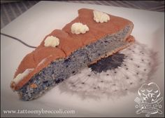 Delicious blueberry sponge cake. Food Dye, Colorful Cakes, Sponge Cake, Blue Velvet, Broccoli, Blueberry, Muffin, Good Food, Tattoo