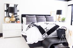 monochromatic black and white bedroom