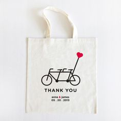 tandem bike wedding tote <3