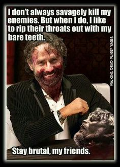 Lol! TWD. The Walking Dead. Bare teeth. Joe. Rick Grimes.