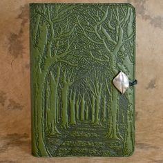 Avenue of Trees Moleskine Leather Journal Cover with Pewter Clasp by Oberon design.