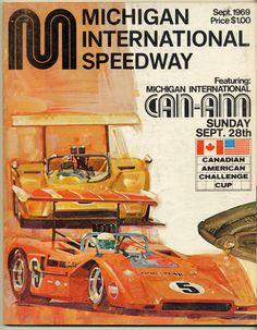 Race program, Bruce McLaren, Denis Hulme, Dan Gurney, Michigan International Speedway
