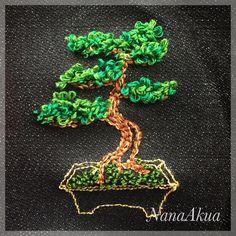"""クロバーの「フリーステッチングニードル」で作った6作目の刺繍、盆栽の松。  This is the 6th embroidery work using """"Clover's embroidery stitching tool"""". Pine Bonsai Tree.  #フリーステッチング #フリーステッチングニードル #クロバー #embroidery #stitching #刺繍 #ナナアクヤ #NanaAkua #clovermfg #PineTree #Bonsai #盆栽 #松"""