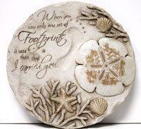 Footprints in the Sand Stepping Stone - Beach & Religious Garden Decor - California Seashell Company Exclusive