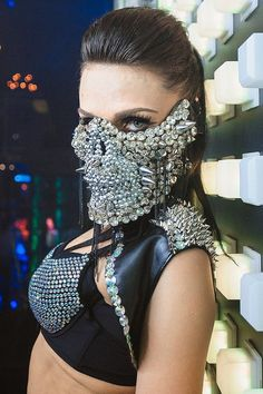 Mask Skull In Rhinestones by AmnesiaShop on Etsy Halloween Rave, Halloween Masks, The Mask Costume, Mode Costume, Ray Costume, Skeleton Mask, Skull Mask, Mouth Mask Fashion, Fashion Face Mask