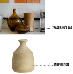 "Recycled - Trader Joe's Bag  ""Clay"" vase  www.happinessiscreating.com"