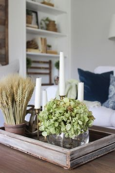 Dried Green Hydrangeas Wheat And Taper Candles For Coffee Table Centerpiece