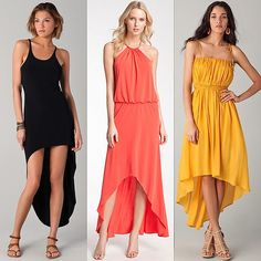 Norma Kamali racer super high-low dress; Laundry by Shelli Segal high-low halter dress; Riller & Fount Willow dress