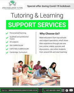 We provide a wide spectrum of South African CAPS, IEB and Cambridge curriculum subjects at primary and high school levels, we also cater for University students. Join other students who have already started learning! 068 035 1845/ 067 015 9855 #hometutoring #homeworkhelp #hometuition #hometutor #onlineclassesforkids #homeschoolmom #homeschooling #onlinelessons #school #elearning #homelearning #homelearningfun Home Learning, Fun Learning, Cambridge Curriculum, Home Tutors, Learning Support, School Levels, Online Lessons, Spectrum, Homeschooling