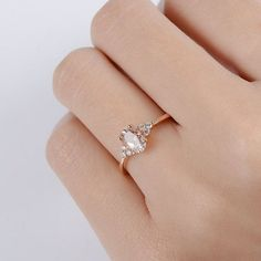 Morganite Engagement Ring Rose Gold Oval Cut Unique by DoriRing