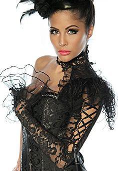 Gothic Burlesque Karneval Fasching Kragen Halsband mit Ärmel aus Spitze und Tüll mit A13238-1, Größe:onesize;Farbe:schwarz