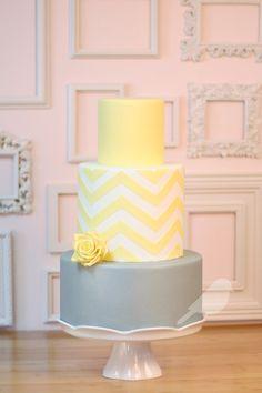 Yellow and gray chevron wedding cake @Sharon Macdonald Macdonald Macdonald Macdonald Macdonald Macdonald Macdonald Jefferson pink and gray!!!