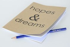 Hopes & Dreams large notebook, People get aspirational towards the New Year - give them a place to write down their hopes. $12.00. Dream Journal, Hopes And Dreams, How To Plan, How To Make, Notebooks, Stationery, Shit Happens, Thoughts, Writing
