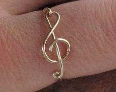 Treble Clef Ring  Music Ring 14KT Gold Filled by MiscAndMiscellany, $12.99