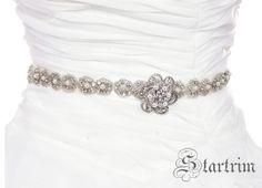 ERICA Crystal pearl wedding bridal beaded sahs  belt by startrim, $70.00