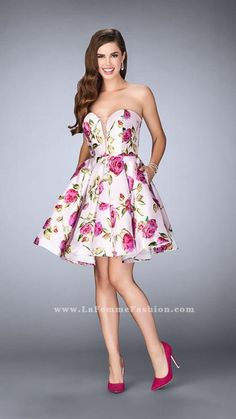 Charming short mikado floral dress with pockets. This dress is strapless with a deep V neckline.    Pink Floral Homecoming Dress Style 24211 | La Femme