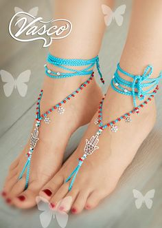 Hamsa Hand Barefoot Sandals by VascoDesign on Etsy