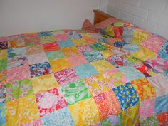 I have two of these Vintage Lilly Pulitzer Quilts.  My mom made them for my sister and I when we were little (early 1970s).  They are beautiful beyond words!