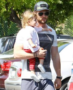 Daddy's girl: Chris Hemsworth, 30, spotted out and about in Malibu with his 22-month-old daughter India