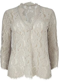 Bluse blonde lys sand 22620 Long Lace V-neck - 84 champagne