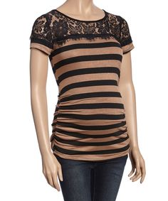 This Mocha & Black Stripe Lace-Yoke Maternity Tee by Mom & Co. is perfect! #zulilyfinds